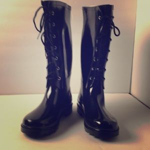 Forever Young Ladies Black Knee High Rubber Boots